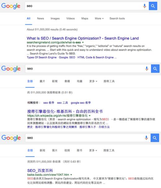 Google Hong Kong SERP