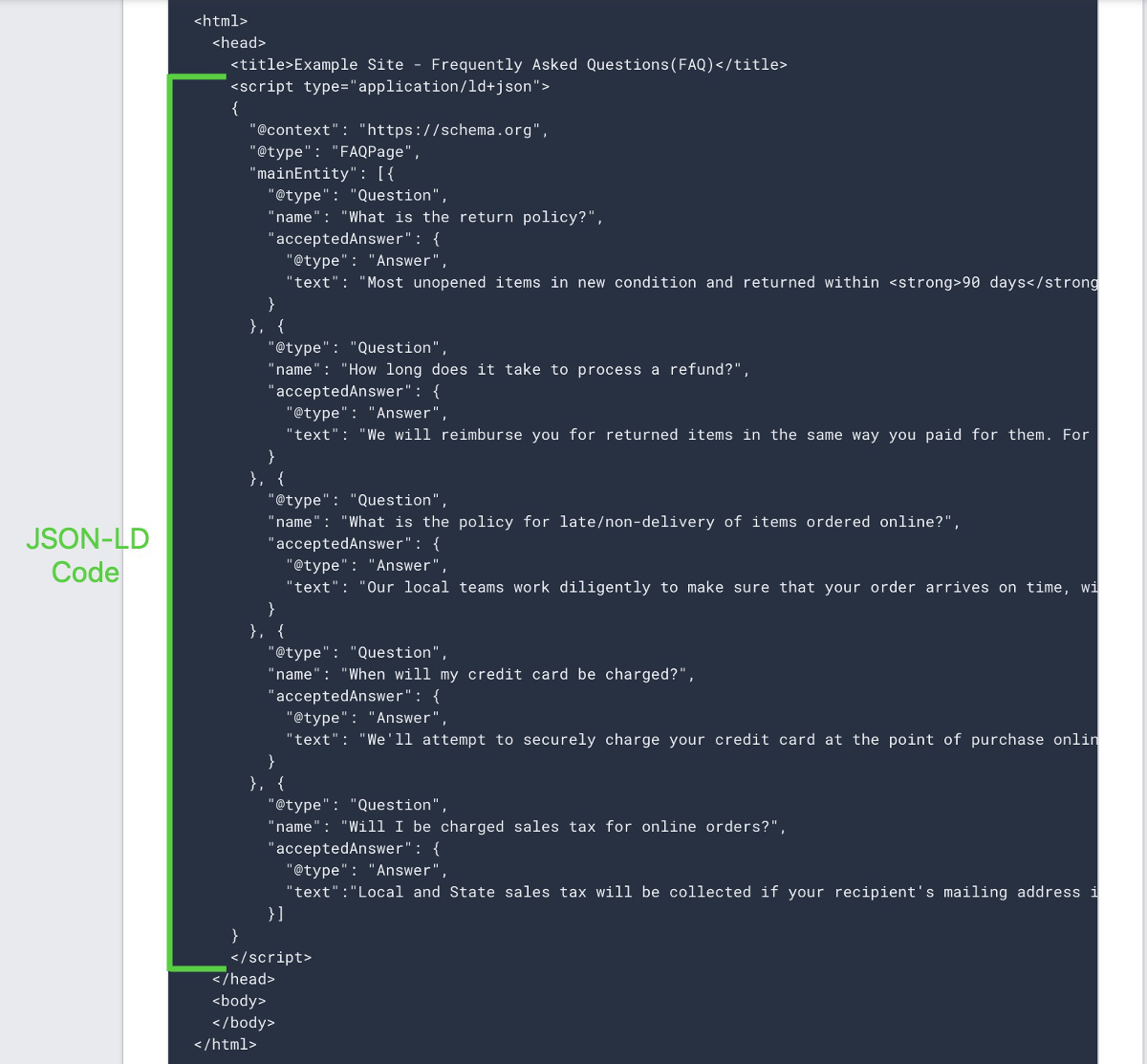 example of json ld markup for faqs