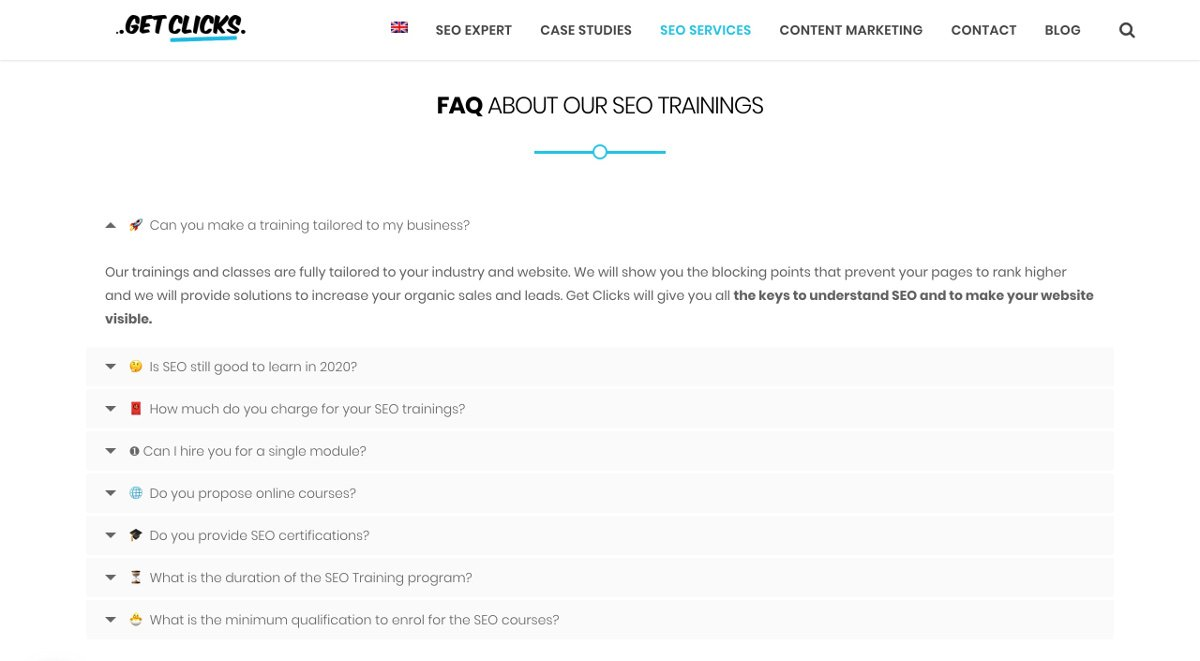 faq in the page