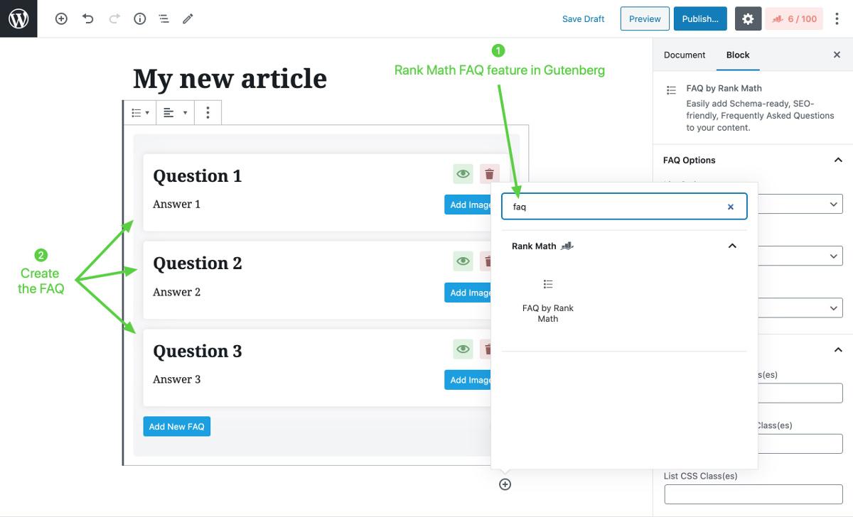 Schema FAQ Gutenberg Rank MAth