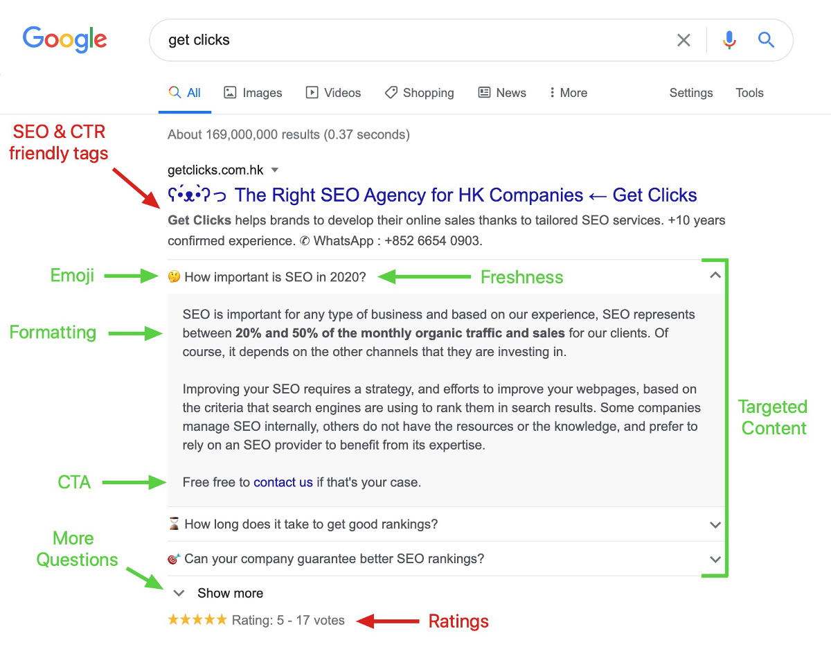 faq snippet google get clicks