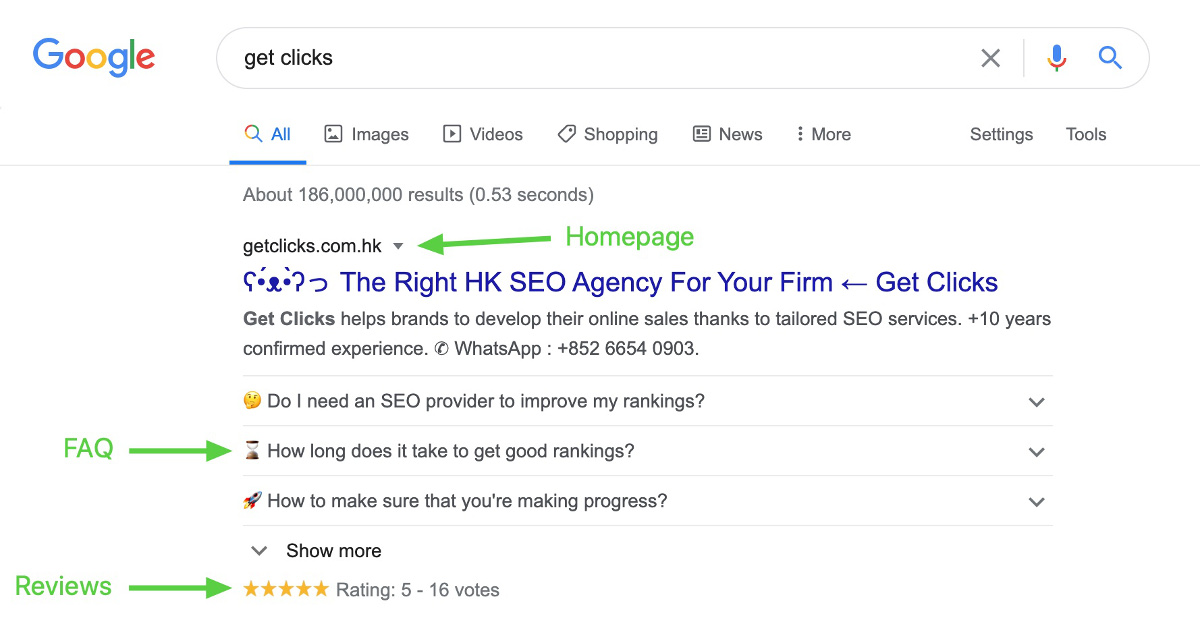 google search rich snippets homepage