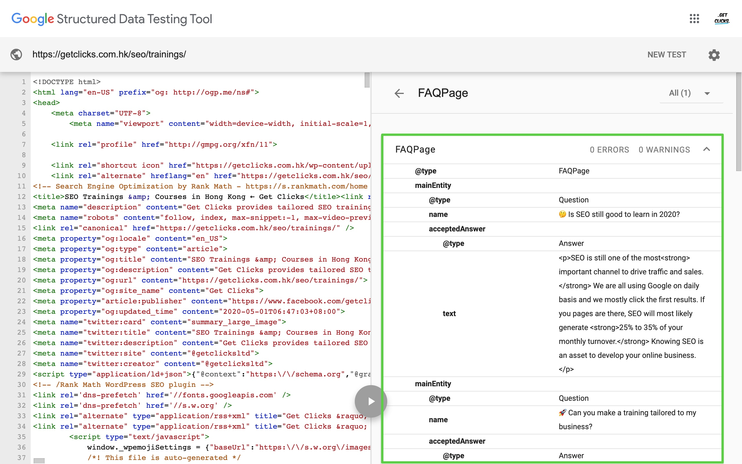 structured data testing tool google